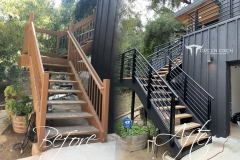 Before and After - Epulum Horizontal Stair Railing | Topanga, California